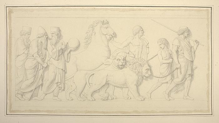 Tre astrologer, perser med en løve og dreng med en tiger