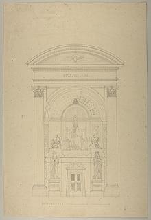 Opstillingsforslag for monument over Pius 7., opstalt
