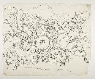 Don Quixote og Sancho Panza kæmper med vognmændene