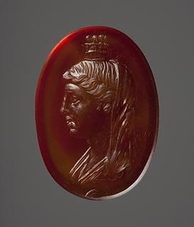 Buste af Kybele (?) med murkrone. Hellenistisk-romersk ringsten