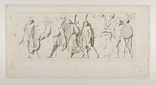 Ung græsk kriger viser Thorvaldsen elefanten som passererer med persiske våben og det kosteligste skrin
