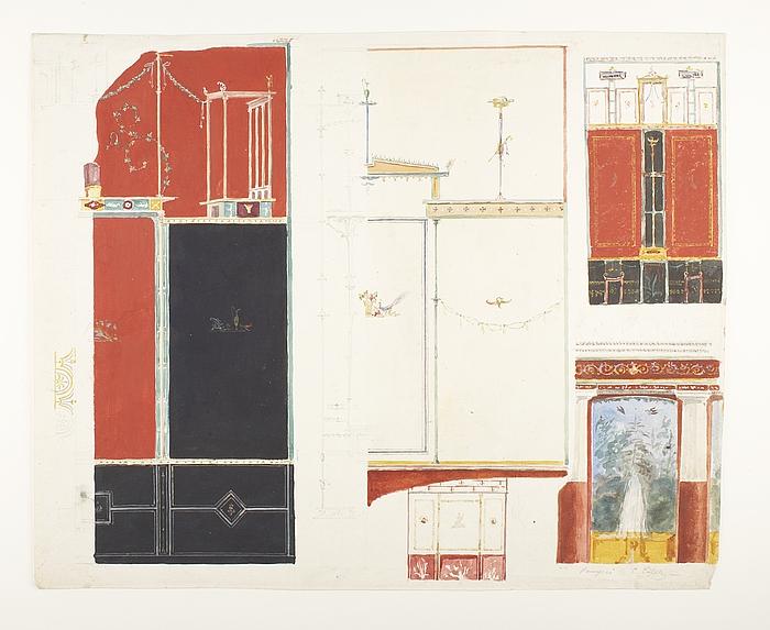 Vægdekoration fra Pompeji, detaljer