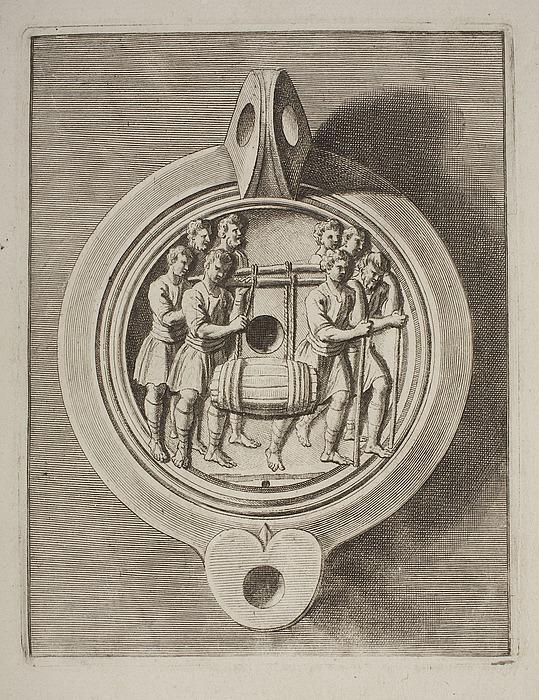 Lampe dekoreret med otte mænd som bærer en vintønde
