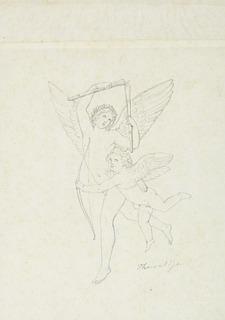 Bertel Thorvaldsen: Amor og Hymen, blyant på papir, 24 x 17,3 cm