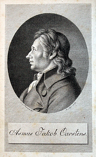 Johann Heinrich Lips efter Carl Ludwig Fernow: Asmus Jakob Carstens, kobberstik. Frontispice i Fernows bog: Leben des Künstlers Asmus Jakob Carstens, Leipzig 1806