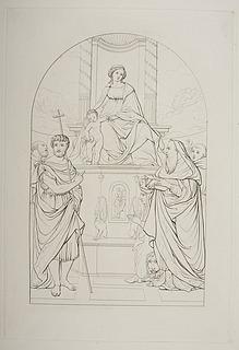 Maria med barnet på en trone omgivet af Johannes Døberen, Sankt Hieronymus, to helgener og donoren Ludovica Trotti ( Madonna del Pilastro )