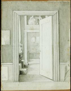 C.W. Eckersberg: Interiør fra kunstnerens bolig på Charlottenborg. Ukendt ejer, foto Bruun Rasmussen
