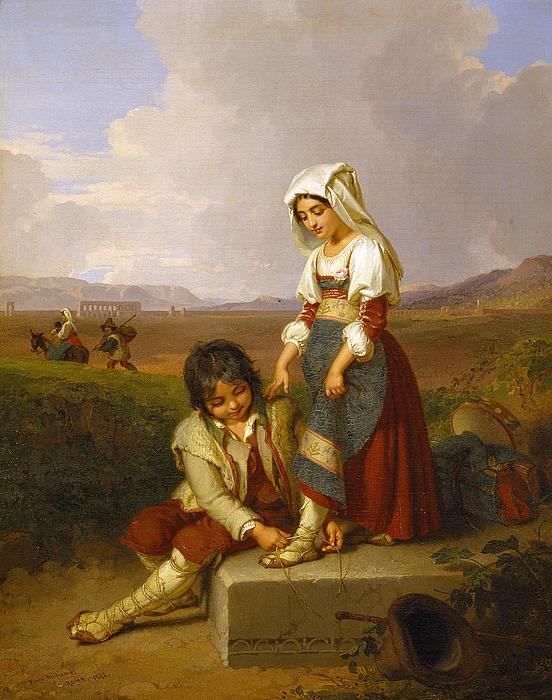 En hyrdedreng og en hyrdepige i den romerske Campagne, i baggrunden Aqua Claudia