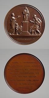 Medalje forside: En syg kvinde føres hen til et Madonnabillede, en stadsgudinde og en dreng med Torinos symbol. Medalje bagside: Inskription