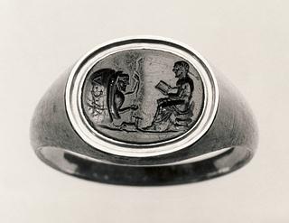 Diogenes i sin pithos diskuterer med en siddende mand. Romersk republikansk ringsten