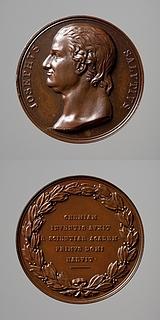 Medalje forside: Kemikeren Giuseppe Angelo Saluzzo. Medalje bagside: Laurbærkrans og inskription