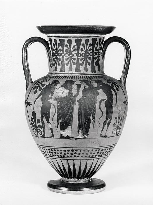 Amfora med Dionysos og Ariadne (A) og krigere der tager afsked (B). Græsk
