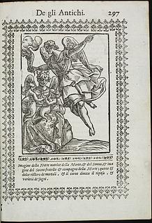 Filippo Ferroverde: Nyx, Thanatos og Hypnos, side 297 i Vincenzo Cartari: Le imagini de i dei degli antichi, Padua, 1615