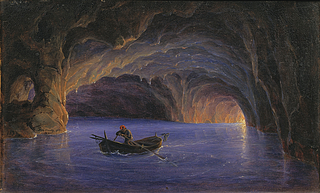 Ferdinand Christian Friedrich Thöming: Die Blaue Grotte auf Capri, 1833 - Copyright gehört Thorvaldsens Museum