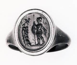 Ødipus og Sfinxen. Hellenistisk-romersk ringsten