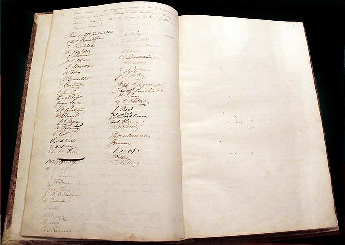 Thorvaldsens signatur ved stiftelsen af Skandinavisk Forening i Rom, 28.1.1833
