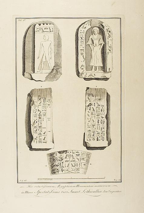 Fragmenter af monumenter med hieroglyffer