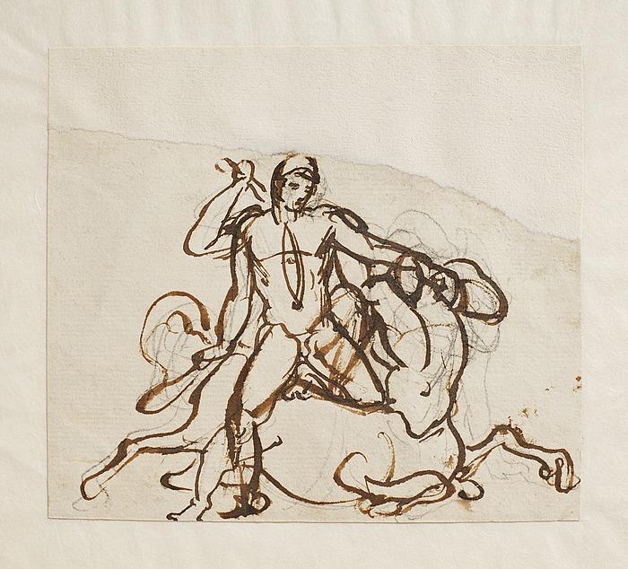 En hero (Theseus?) i kamp med en kentaur