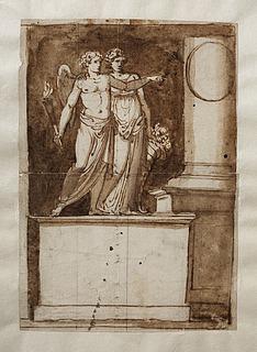 Allegoriske figurer ved en brudt søjle