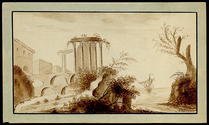 Kyst med ruin med korintiske søjler
