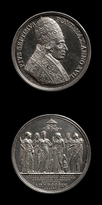 Medalje forside: Pius 7. Medalje bagside: Pontecorvo, Benevento, Bologna, Ferrara og Romagna