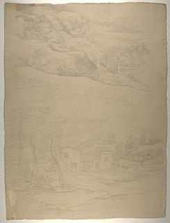 Klippelandskab med vandfald. Bjerglandskab med huse