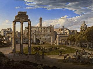 Johann Heinrich Schilbach: Blick über das Forum Romanum, 1825 - Copyright gehört Thorvaldsens Museum