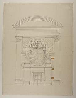 Monument over Pius 7. tegnet ind i opstalt af nichen