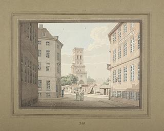 Nikolaj Tårn i København set fra Vingårdsstræde