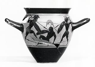 Drikkekop med kampscene (A) og siddende, ældre mand mellem to ynglinge (B). Græsk