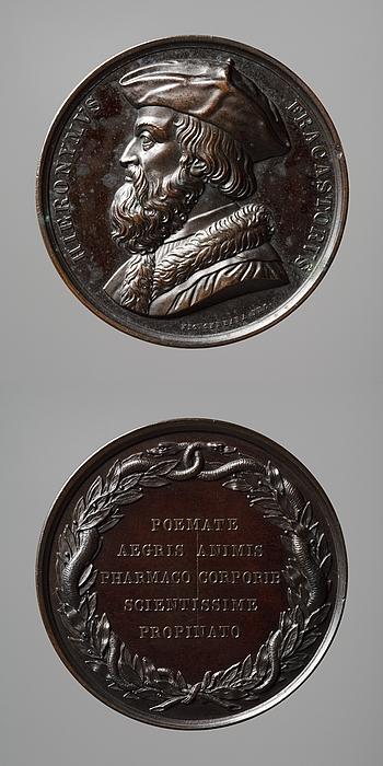Medalje forside: Lægen Hieronymus Fracastoro. Medalje bagside: Inskription og en krans af laurbærgrene og to slanger