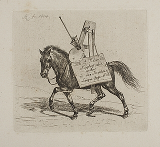 Hest lastet med maleredskaber og en tegnemappe med Kleins adresse i Langen Sasse No. 66