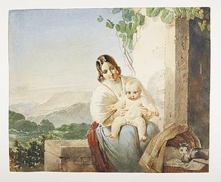 Italienerinde med sit barn på skødet