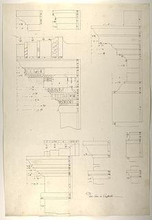 Konstantin-buen, profil af entablatur, kapitæler og postamenter