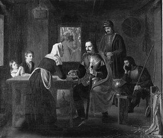 Niels Ebbesen besøger en fattig kone på vej til Randers, morgenen efter grev Gerts død.