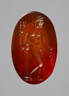 Apollon med laurbærgren og trefod. Hellenistisk-romersk ringsten