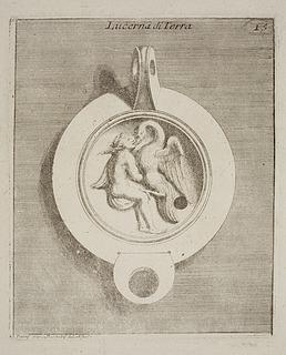Lampe dekoreret med Leda og svanen