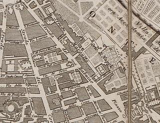 Pietro Ruga, kort over Rom med udsnit af området omkring Strada de Babuino, 1818