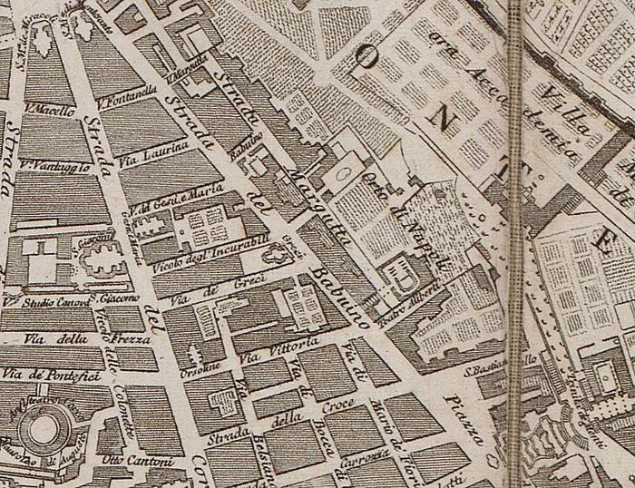 Strada del Babuino, Pietro Ruga, Pianta topografica di Roma moderna estratta dalla grande del Nolli an.1818