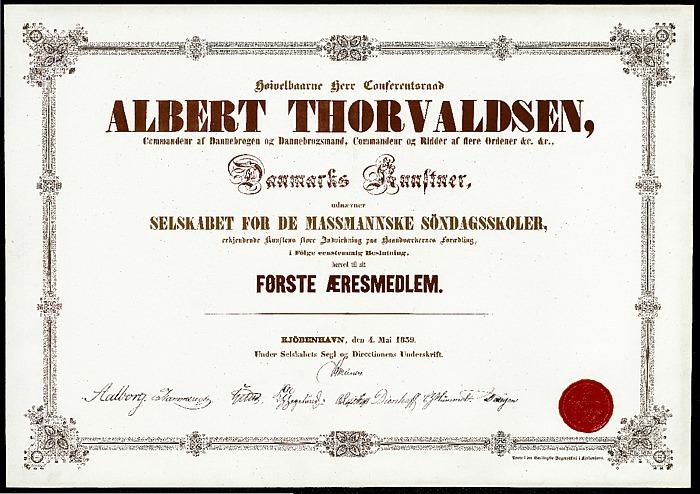 Thorvaldsens æresdiplom fra de Massmannske søndagsskoler