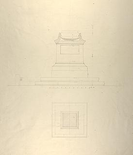 Sokkel til monument over Friedrich Schiller, grundplan og opstalt