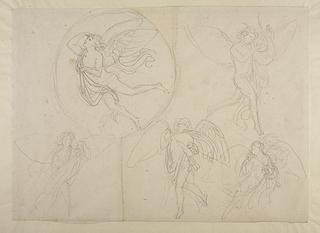 Svævende genier. Svævende engel med blomsterkrans