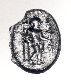 Apollon med laurbærgren, heroldstav og trefod. Hellenistisk-romersk paste