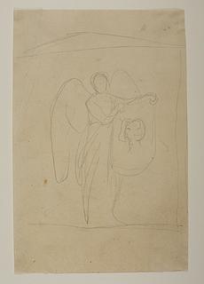 Engel der holder et klæde med en portrætskitse, til ubekendt gravmæle