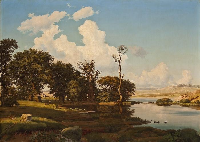 Dansk landskab ved en sø