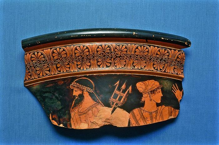 Krater med Poseidon og en gudinde. Græsk