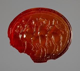 Tre krigere til hest. Græsk hellenistisk ringsten