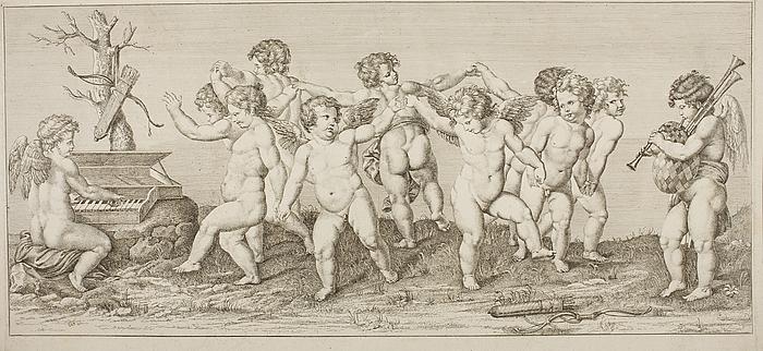 Amor og Psyche danser runddans med syv andre børn til musik fra to amoriner