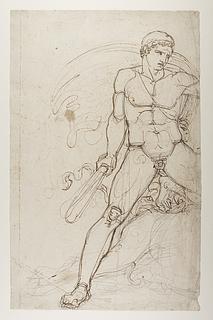 En hero (Theseus?) i kamp med Minotaurus