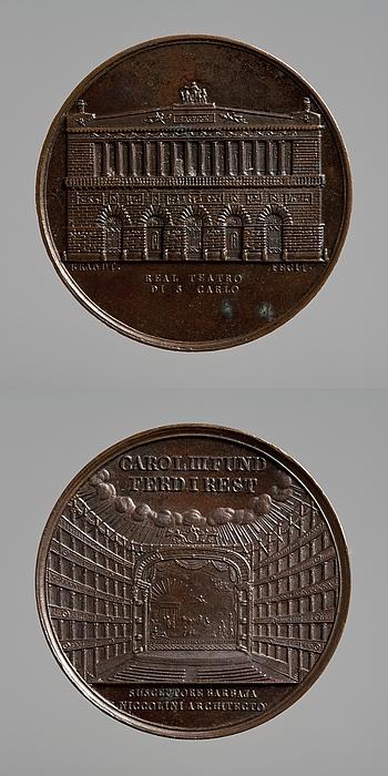 Medalje forside: San Carlo-teatret i Napoli. Medalje bagside: Interiør af San Carlo-teatret i Napoli